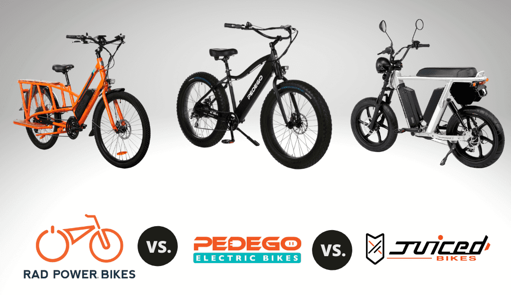 Best Electric Bikes:, Rad Power Bikes vs. Pedego, vs. Juiced Bikes cover image